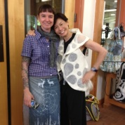 Debbie Leung wearing her own design and Alice Vinson