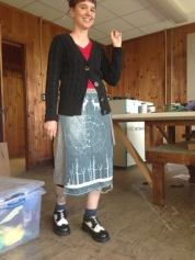 Alice wearing her own design