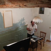 Michel at work with a lovely pale blue. Photo courtesy of Catharine Ellis