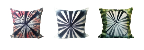 "Pinwheel Series Large Cushions, 26""x26"", Ramie,Shibori, Silk screen,2014"