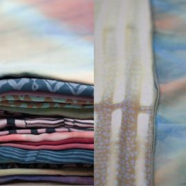 Selection of Scarves, Various Sizes, Tencel, Shibori, Silk Screen, 2013/14 Photo cred: Katie Tower