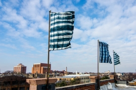 Warp and Weft, Flag Installation,4'x6', Shibori, Lillstreet Art Centre, Chicago, IL, 2013