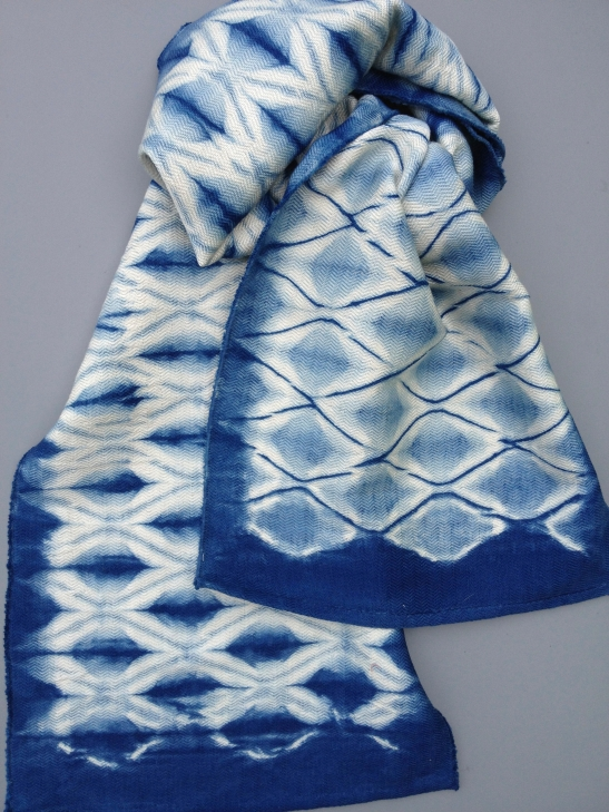 Photo courtesy of Catharine Ellis. Diamond Woven Shibori Scarf now available online