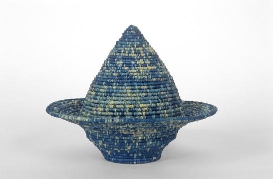 Barbara Shapiro. Indigo Tagine, Indigo dyed coiled raffia