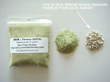 Comparison of SFS Shop's ferrous sulfate (iron mordant) to average garden nursery granules.