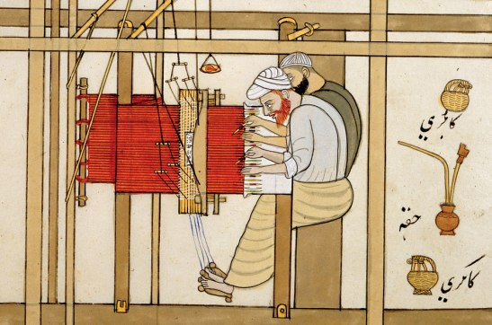 "Image from Carol Bier's article for ARAMCO World titled Warp and Wefts 2009. caption: The Album of Kashmiri Trades depicted mid-19th-century ""shawl-weavers.""BRITISH LIBRARY / BRIDGEMAN ART LIBRARY"