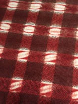 Alpaca, woven shibori resist, dyed with madder (rubia tinctoria), inspired by historical check patterned textiles from China and Mexico