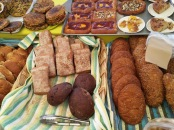 Baked goods at the Sunday morning organic market. Photo by Sarah Chu.