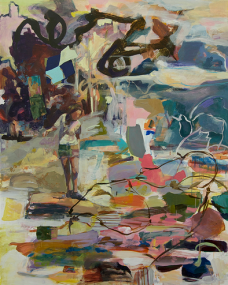 """Munakata Stones in the Water, 2012, 48"""" X 38 1/4"""", acrylic, wax pastel on gaterboard panel"""