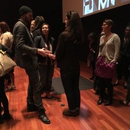 Lynda Grose and Yoshiko Wada gathered afterward the Holly McQuillan: zero-waste fashion design lecture at the De Young Museum