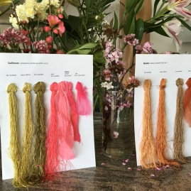 Safflower and Madder natural dye color samples were a perfect complement to the beautiful flowers that Cynthia gifted to Yoshiko