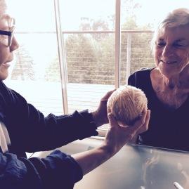 Yoshiko sharing Choshi dye recipe details with Cynthia Dakopolos, WSN member and natural dyer, at the WSN headquarters