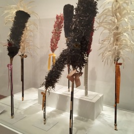 Kāhili (royal staff of feathers) from the Royal Hawaiian Featherwork: Nā Hulu Ali'I exhibition at the De Young Museum