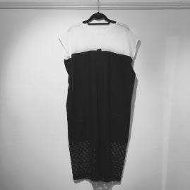 A beautiful Black and White cotton dress from Carol Lee Shank's women's wear collection