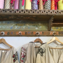 A colorful snapshot of embroidery and wrapping papers at the Tail of the Yak Boutique