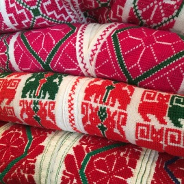 A close-up of embroidery at the Tail of the Yak Boutique