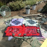 2: The adhesive is set to dry in the sun