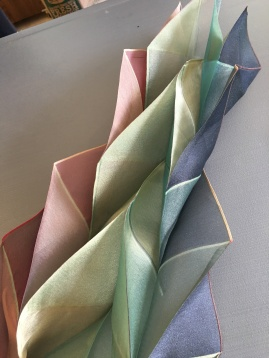 Sculptural scarf; origami folded and heat set