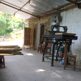 The paper press at the studio
