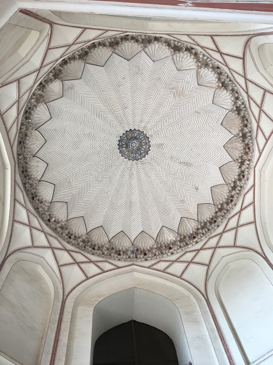 Inside the dome of Humayun's tomb in Delhi.