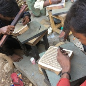 Men carving the blocks for printing in Sanganer.