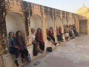Our lovely group poses for a photo and a nice shady rest at the Amer Fort in Rajasthan.