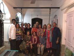 Asif Shaikh (far left) and Shafique, a new textile faculty at NID (far right), Villo (in bottom center) and our group at a private home for dinner.