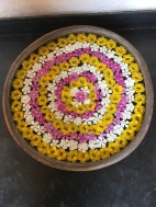 "A welcoming flower arrangement in a private ""farmhouse"" in Ahmedabad."